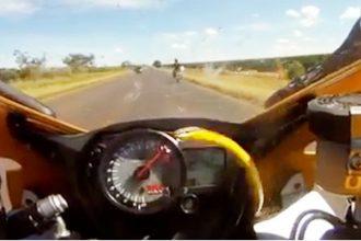 Videos: Cobra Pula em Moto em Alta Velocidade